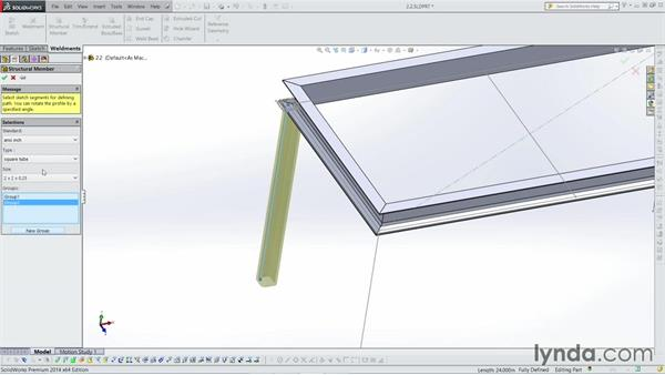 Creating groups: Weldments with SOLIDWORKS