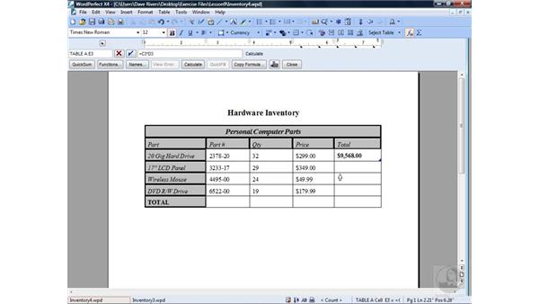 Doing math in a table: WordPerfect Office X4 Essential Training