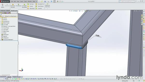 Adding in weld beads: Weldments with SOLIDWORKS