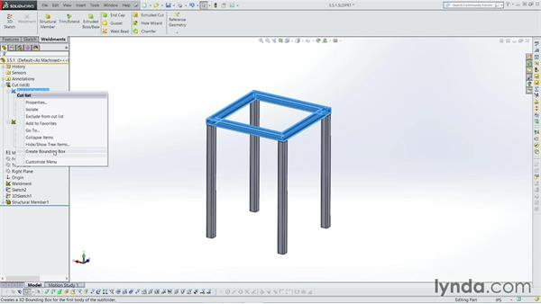Working with the Cut list: Weldments with SOLIDWORKS