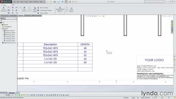 Adding the Cut list to the drawing: Weldments with SOLIDWORKS