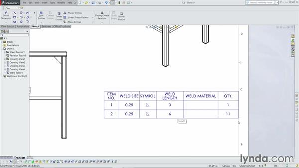 Adding in a weld table for Design table not working solidworks