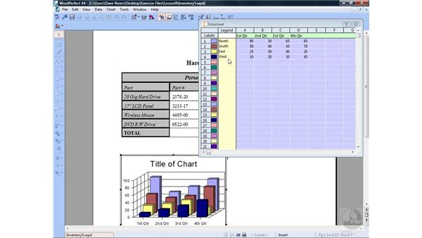 Creating charts from a table: WordPerfect Office X4 Essential Training