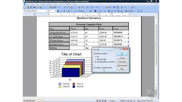 Modifying chart data: WordPerfect Office X4 Essential Training