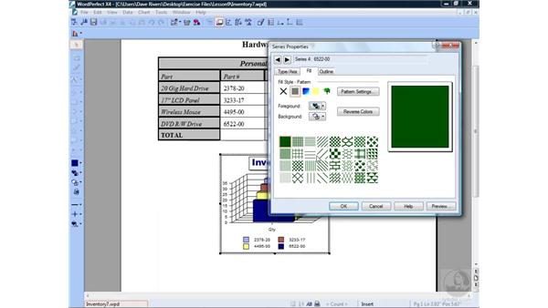 Modifying chart appearance: WordPerfect Office X4 Essential Training
