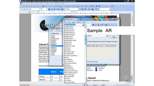 Editing and deleting styles: WordPerfect Office X4 Essential Training