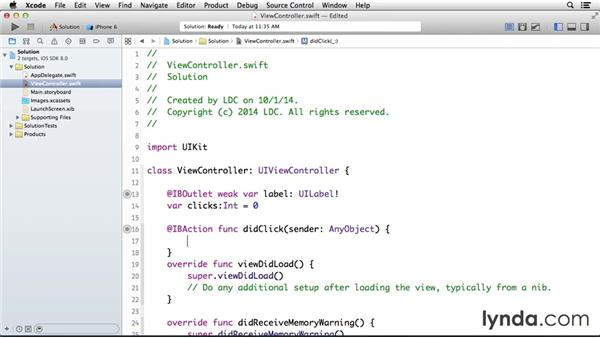 Solution: Create a counter app: Programming for Non-Programmers: iOS 8