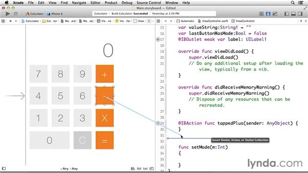 Connecting all of the visual elements to code: Programming for Non-Programmers: iOS 8