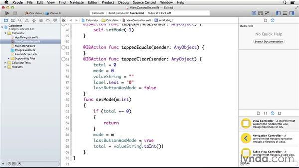 Setting the calculator to add or subtract: Programming for Non-Programmers: iOS 8