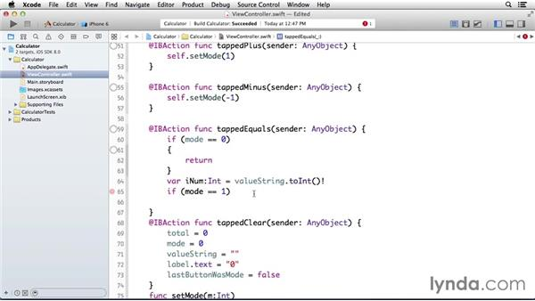 Showing the total when the Equals button is tapped: Programming for Non-Programmers: iOS 8