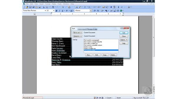 Sorting lines: WordPerfect Office X4 Essential Training