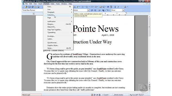 Working with newspaper columns: WordPerfect Office X4 Essential Training