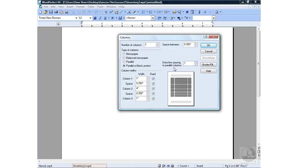 Working with parallel columns: WordPerfect Office X4 Essential Training
