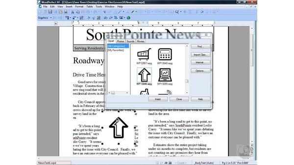 Inserting graphics: WordPerfect Office X4 Essential Training