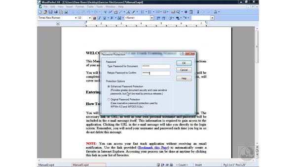 Password-protecting documents: WordPerfect Office X4 Essential Training