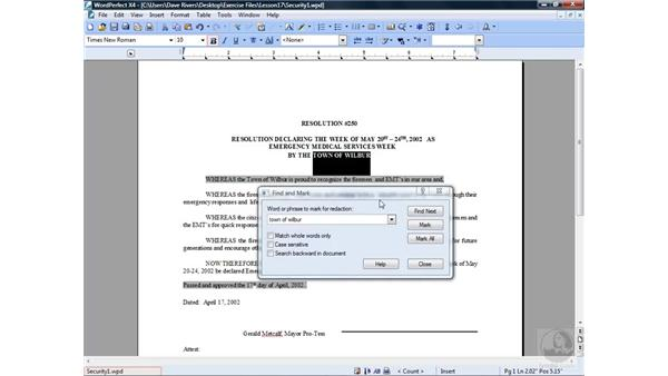 Protecting data: WordPerfect Office X4 Essential Training
