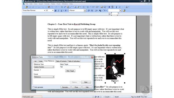 Creating cross references: WordPerfect Office X4 Essential Training