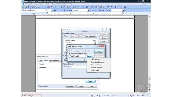 Creating an index: WordPerfect Office X4 Essential Training