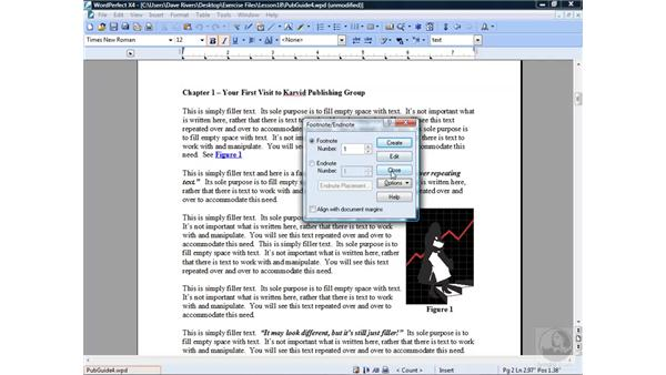 Creating footnotes and endnotes: WordPerfect Office X4 Essential Training