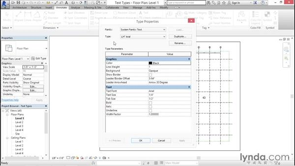 Setting up text types: Creating Revit Templates: Annotation