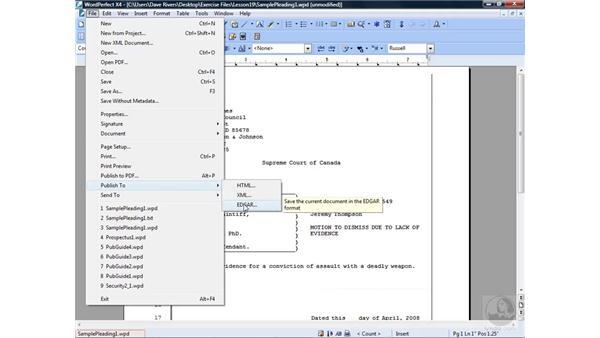 Publishing to EDGAR: WordPerfect Office X4 Essential Training