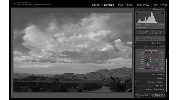 Converting to black and white using the Black & White panel: Black-and-White Project: Creating a Dramatic Landscape with Lightroom and Photoshop