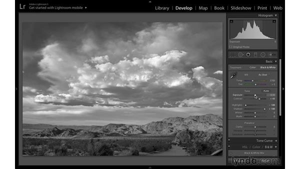 Improving the image with the Basic controls: Black-and-White Project: Creating a Dramatic Landscape with Lightroom and Photoshop