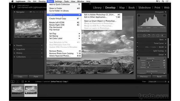 Opening the photograph in Photoshop: Black-and-White Project: Creating a Dramatic Landscape with Lightroom and Photoshop