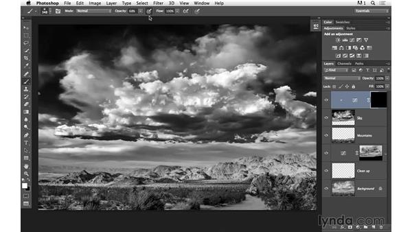 Painting in brightness on the sky with masks and curves: Black-and-White Project: Creating a Dramatic Landscape with Lightroom and Photoshop