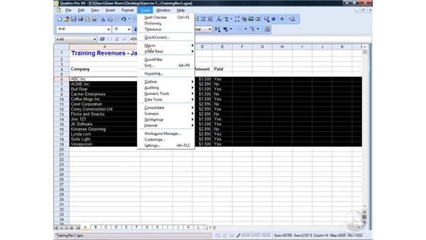 Sorting data: WordPerfect Office X4 Essential Training