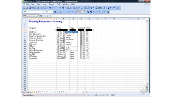 Filtering data: WordPerfect Office X4 Essential Training