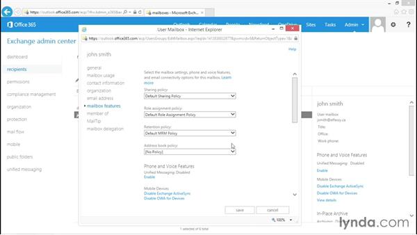 Managing Exchange user mailboxes: Administration for Cloud-Based Office 365