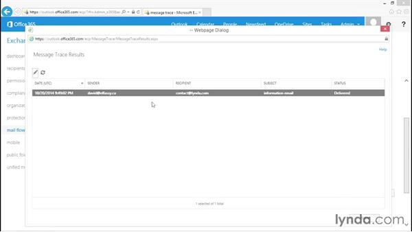 Using a message trace: Administration for Cloud-Based Office 365