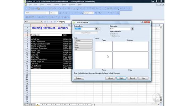 Working with cross-tab reports: WordPerfect Office X4 Essential Training