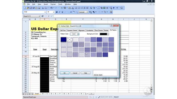 Fills, patterns, and borders: WordPerfect Office X4 Essential Training