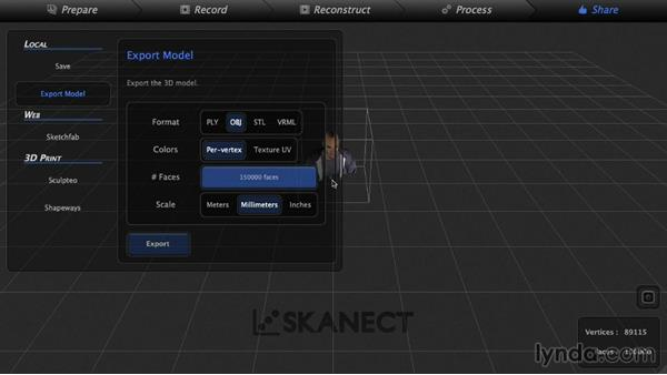 Exporting a scan: 3D Scanning a Person