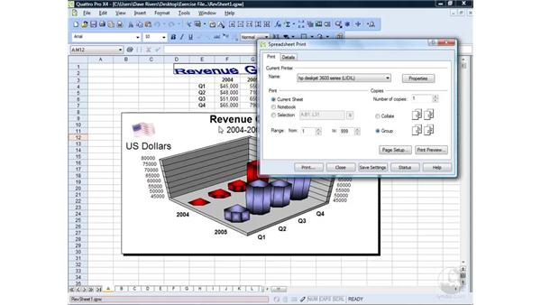 Printing spreadsheets: WordPerfect Office X4 Essential Training