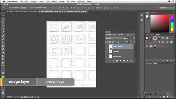 Importing your sketches into Photoshop: Creating Icons with Photoshop