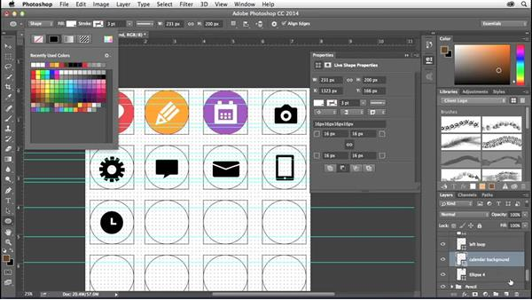 Importing color themes and applying your color scheme: Creating Icons with Photoshop