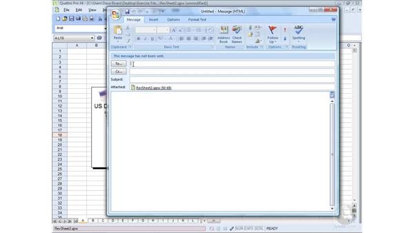 Emailing spreadsheets: WordPerfect Office X4 Essential Training