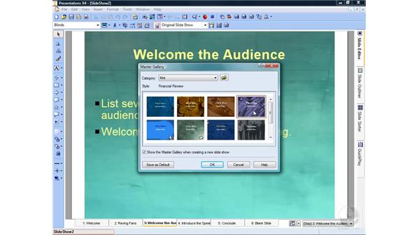 Creating a slideshow from scratch: WordPerfect Office X4 Essential Training
