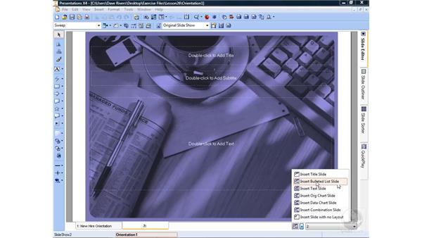 Adding new slides: WordPerfect Office X4 Essential Training