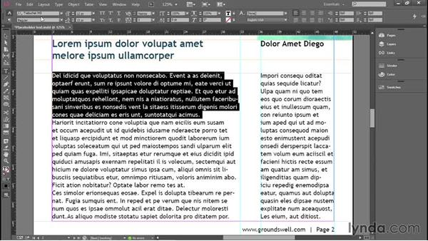 Selecting and formatting type: Introducing InDesign