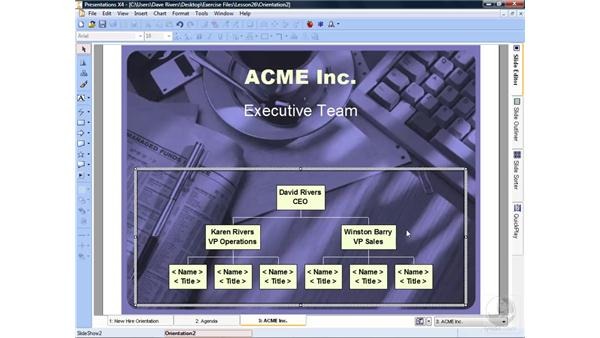 Adding org charts: WordPerfect Office X4 Essential Training