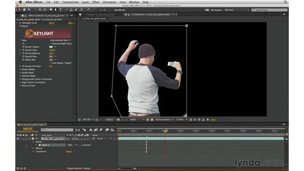 Begin a color key with a g-matte: After Effects Compositing 04: Color Keying
