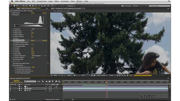 Improve detailed edges with Refine Soft Matte: After Effects Compositing 04: Color Keying