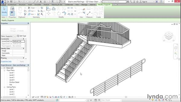 Using profiles in stairs and railings
