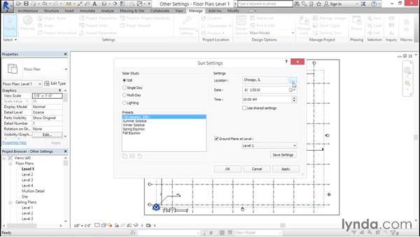 Establishing location and sun settings: Creating Revit Templates: System Settings