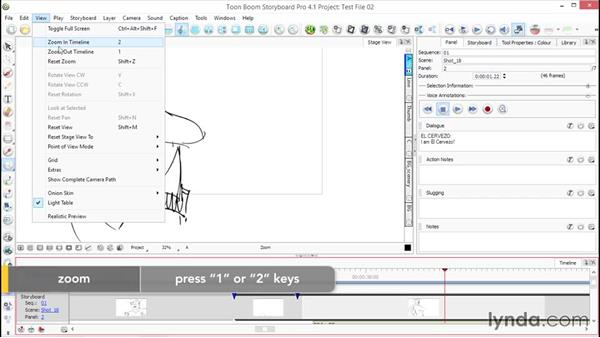 Zoom, rotate and move around in the workspace: Toon Boom Storyboard Pro Essential Training