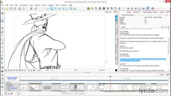 Working with the Panel view dialog, text, and tools: Toon Boom Storyboard Pro Essential Training